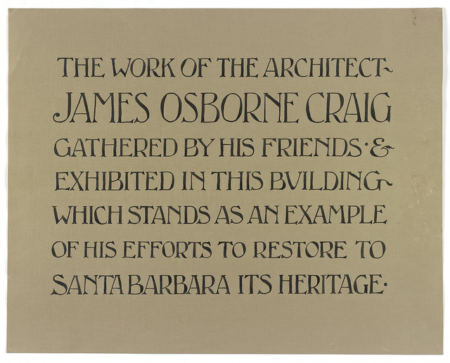 [Sign for exhibit of architectural designs by James Osborne Craig]