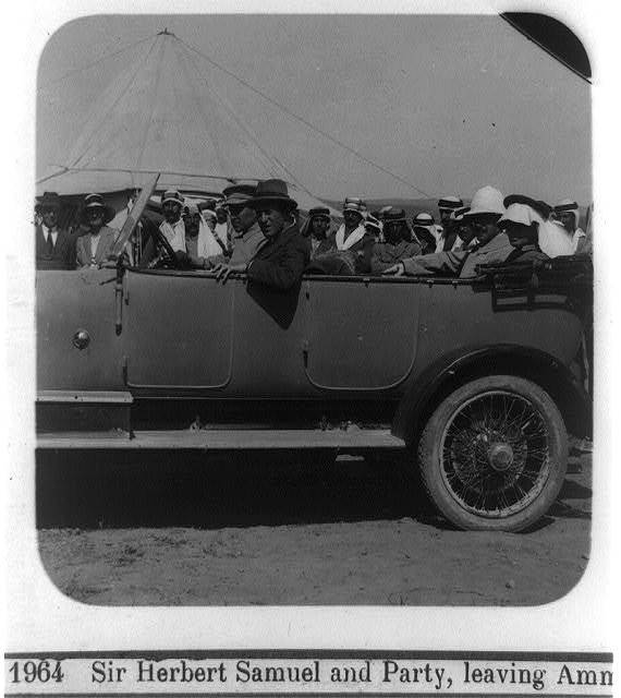 Sir Herbert Samuel and party, leaving Amman, [Jordan, in car with others]