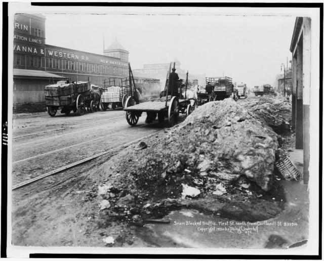 [Snow blocked traffic. West St. north from Cortlandt St., New York City]