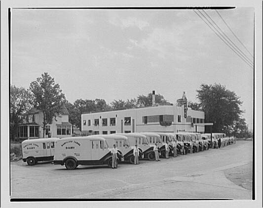 Southern Dairies Building and trucks. Southern Dairies building and trucks II