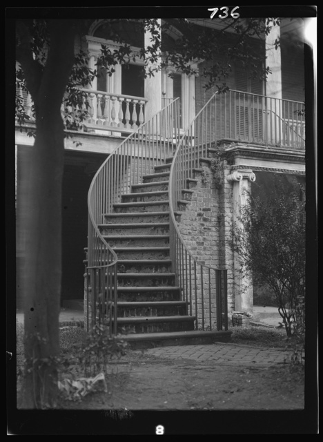 Stairway to the first floor of a building, New Orleans or Charleston, South Carolina