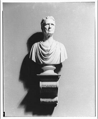 Statues and sculpture. John Marshall bust in old U.S. Supreme Court room
