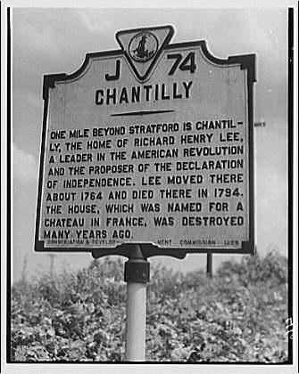 Stratford Hall. Land marker of Chantilly