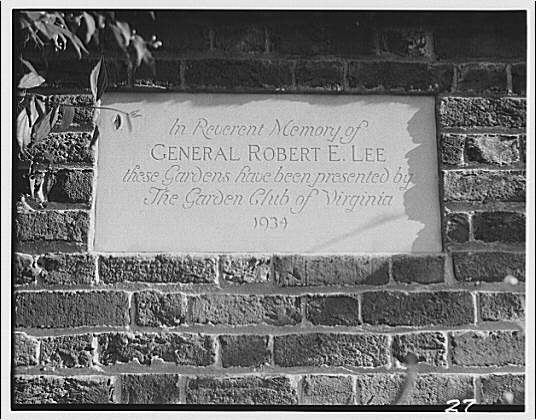 Stratford Hall. Plaque in garden wall at Stratford Hall given by the Garden Club of Virginia