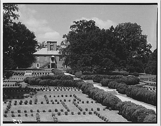 Stratford Hall. View of garden at Stratford Hall II