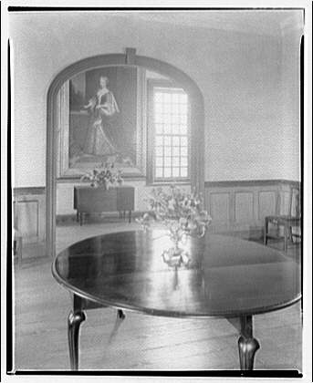 Stratford, Lee family estate. Interior with table, archway, and painting at Stratford