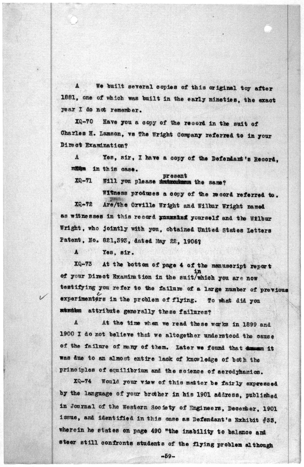 Subject File:  Legal Cases--Montgomery v. Wright-Martin Airway Corp.--Depositions: Wright, Orville, 1920