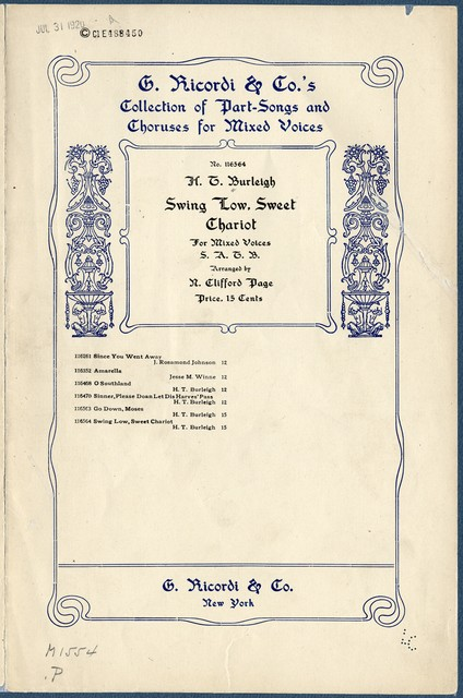 Swing low, sweet chariot chorus for mixed voices : Negro spiritual