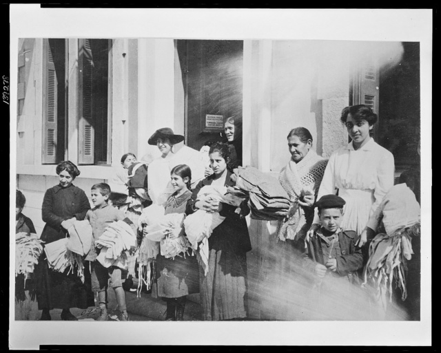 The American sewing circle in Athens A group of Greek women who work in the sewing rooms established by the American Red Cross in the Greek capital.