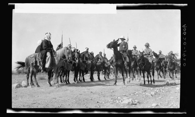 The High Commissioner's first visit to Transjordan. Sir Herbert Samuel with Bedouin sheiks