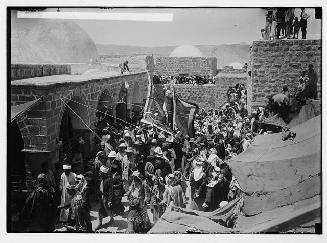 "The new era in Palestine. The arrival of Sir Herbert Samuel, H.B.M. high commissioner, etc. Sir Herbert Samuel visiting the ""Tomb of Moses""."