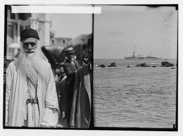 The new era in Palestine. The arrival of Sir Herbert Samuel, H.B.M. high commissioner, etc. H.M.S. Centaur conveying Sir Herbert Samuel to Jaffa; [Man in street].