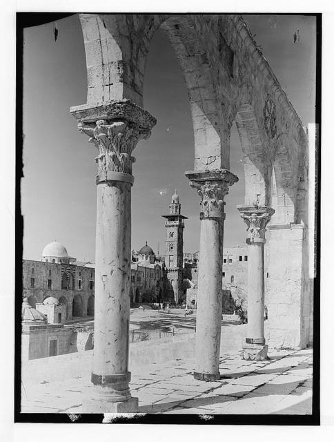 The Temple area. Tower of Antonia seen through colonnade.