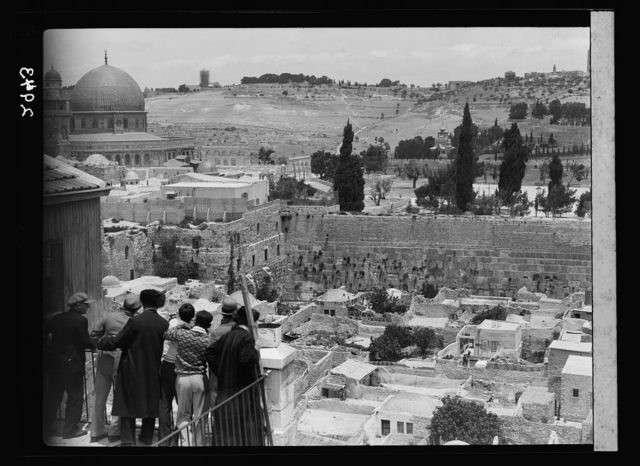 The Temple area. Western wall of Temple area. Distant view of so-called Wailing Wall