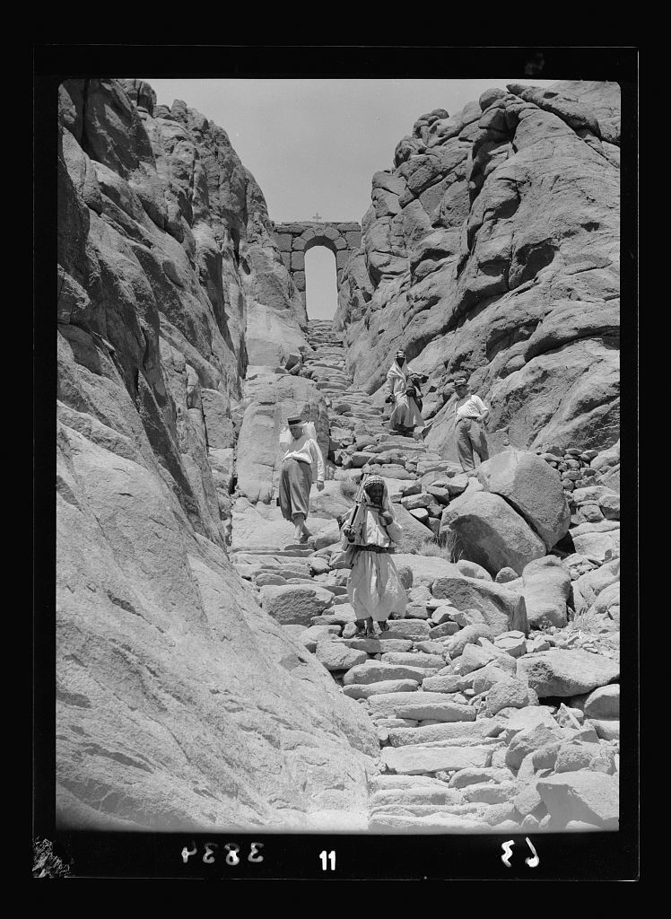 To Sinai by car. Pilgrims' steps and the wicket gate. Descent from Gebel Mousa