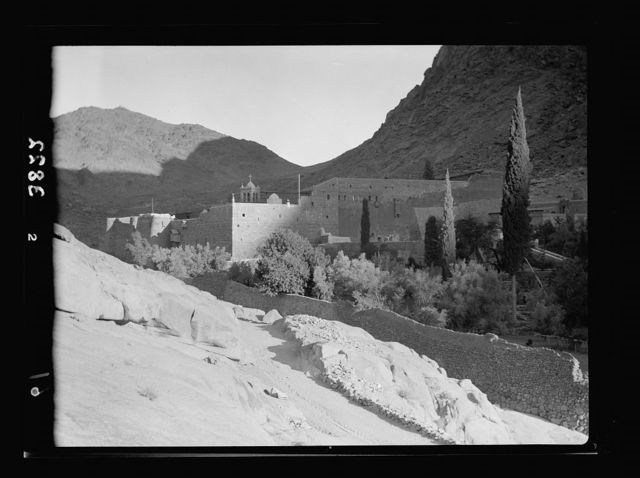 To Sinai by car. St. Katherine's [i.e., St. Catherine's] Monastery in Sinai taken in evening light