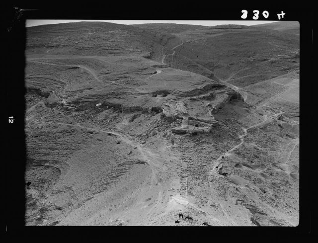 Transjordan. East of the Dead Sea. Machaerus. Ruins at foot of el-Meshneka. Here probably existed a connecting wall with Castle Hill