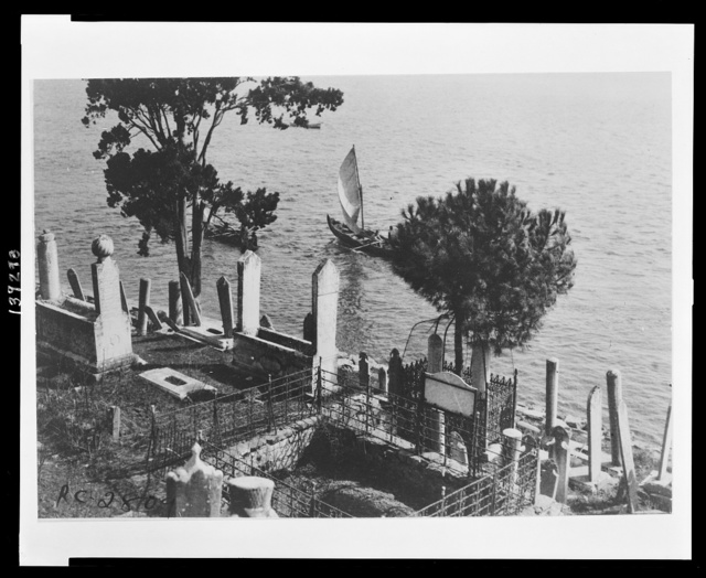 Turks have great respect for the dead and for this reason their cemeteries are placed in the most beautiful spot to be found Although crowded and irregular the great number of trees and shrubbery makes them places of beauty. This ancient cemetery lying on the shores of the Bosphorus is one of the oldest in Constantinople. Hundreds of soldiers and prominent people of the Turkish Empire are buried within its walls.
