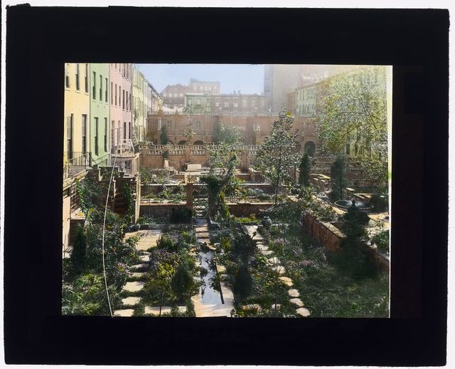 [Turtle Bay Gardens, 227-247 East 48th Street and 228-246 East 49th Street, New York, New York. View east to common garden]