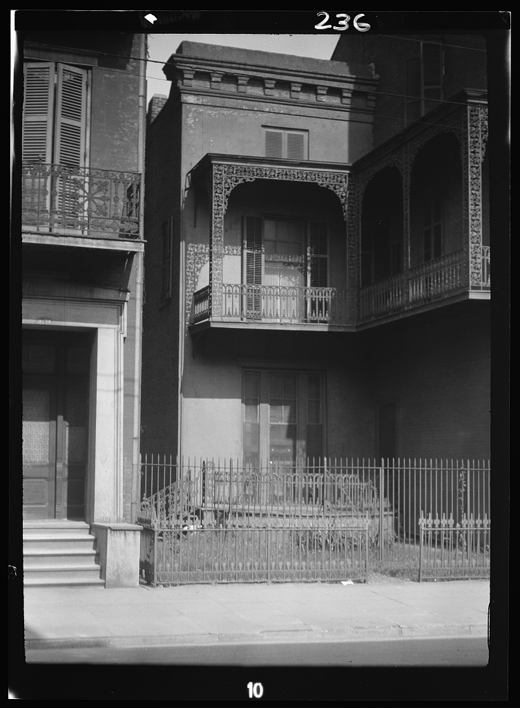 Two-story houses, New Orleans or Charleston, South Carolina
