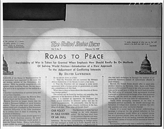 "United States news. Page with ""Roads to Peace"""