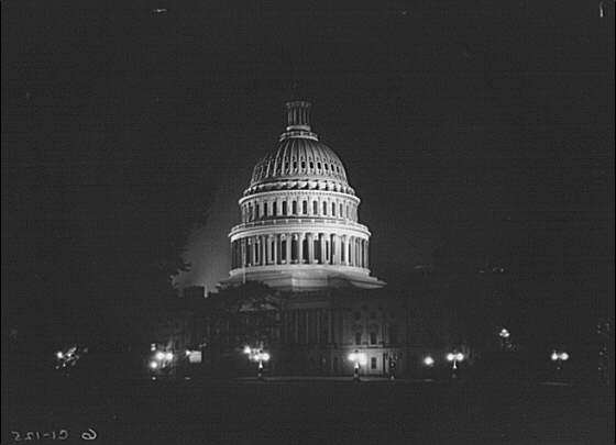 U.S. Capitol exteriors. East front of U.S. Capitol at night in winter I