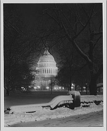 U.S. Capitol exteriors. East front of U.S. Capitol at night in winter II