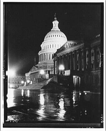 U.S. Capitol exteriors. East front of U.S. Capitol on rainy night I