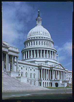 U.S. Capitol exteriors. U.S. Capitol, side angle, stairs in foreground I