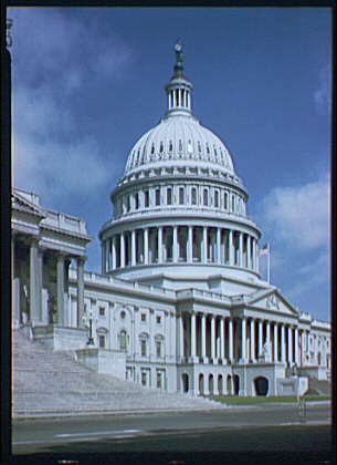 U.S. Capitol exteriors. U.S. Capitol, side angle, stairs in foreground II