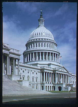 U.S. Capitol exteriors. U.S. Capitol, side angle, stairs in foreground III