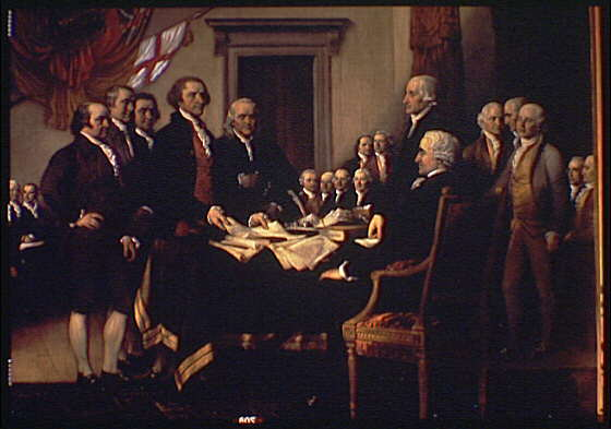 U.S. Capitol paintings. Declaration of Independence, painting by John Trumbull in U.S. Capitol, detail III