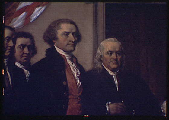 U.S. Capitol paintings. Declaration of Independence, painting by John Trumbull in U.S. Capitol, detail with Thomas Jefferson and Benjamin Franklin I