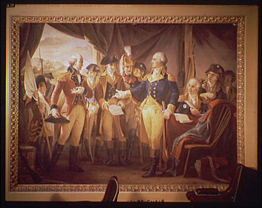 U.S. Capitol paintings. George Washington with British soldiers at Yorktown painting in U.S. Capitol II