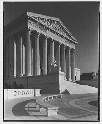 U.S. Supreme Court exteriors. Front portico of U.S. Supreme Court from left II