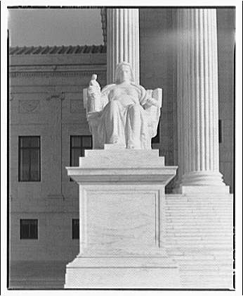 U.S. Supreme Court exteriors. Statue of Contemplation of Law at U.S. Supreme Court, front view I