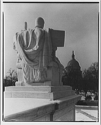 U.S. Supreme Court exteriors. Statue of Execution of Law at U.S. Supreme Court, rear view IV