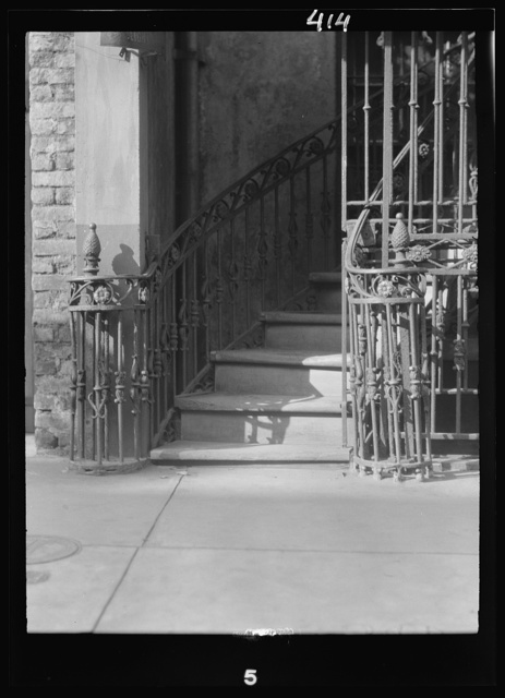 Victor David House (Le Petit Salon) entrance stairway, 620 St. Peter Street, New Orleans