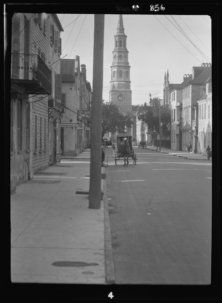 View down street to St. Philip's Church, Charleston, South Carolina