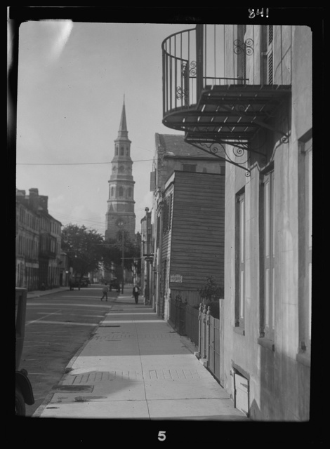 View down street to St. Philip's Church, Charleston, South Carolina