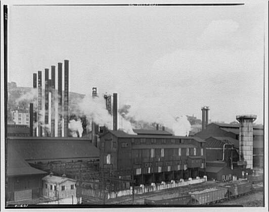 Views of steel mills in Brady St. Bridge vicinity. Steel mills in distance, horizontal II