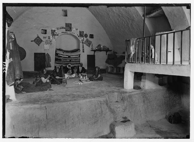 Wady Shaib Es-Salt, Amman, etc. A home in Es-Salt. Showing interior of a peasant home.