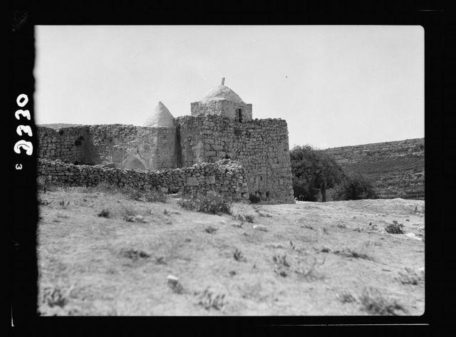 "Wady Sha'ib Es-Salt, Amman, etc. Neby Osha. Tomb of ""Hosea."" Ext[erior]. view of the willy [i.e., weli]"