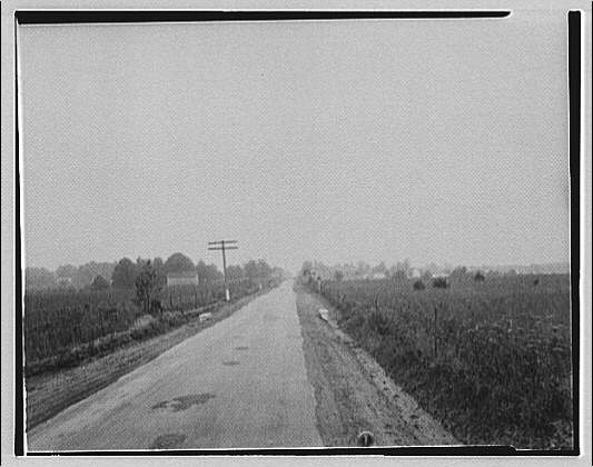 Waldorf, Maryland and vicinity. Road with field on right