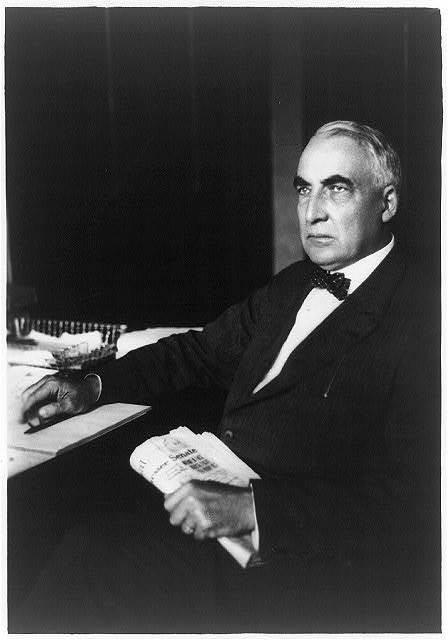 [Warren G. Harding, three-quarter length portrait, seated at desk, facing left]