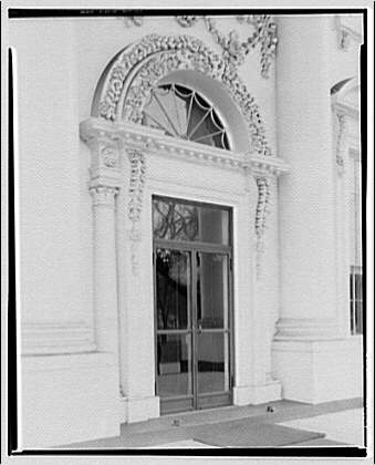 White House exteriors. Close-up of front doorway of White House