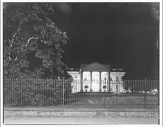 White House exteriors. Front of White House at night II