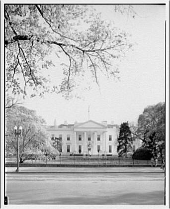 White House exteriors. Front of White House from Lafayette Park, vertical III