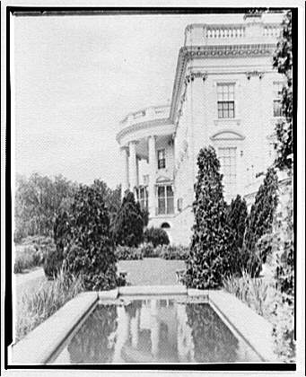 White House exteriors. South portico of White House, east side