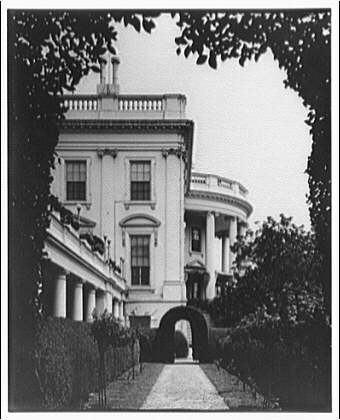 White House exteriors. South portico of White House from west side